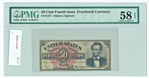 1869 US 50c Lincoln Fractional Currency Fr 1374 PMG 58 EPQ Choice About UNC AU