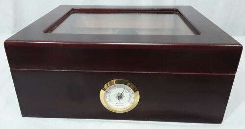 Quality Importers Cigar Wooden Box Glass top W/ Hygrometer Holds Up to 50 Cigars