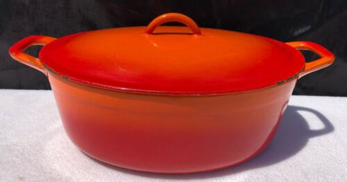 Vintage Descoware Flame Enamel Dutch Oven Pot Belgium Orange Heavy Oval