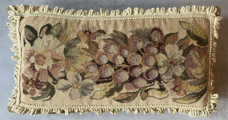 Vintage French Style Floral Petit Point Needlepoint Pillow Grapes Hand Made