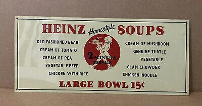 Vintage Heinz Soup Sign Tin Kitchen Decor Restaurant Cooking Homestyle 1