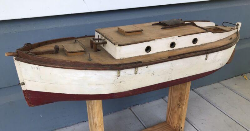 Antique Wooden Pond Boat Model Of Sacramento River Sailing Barge