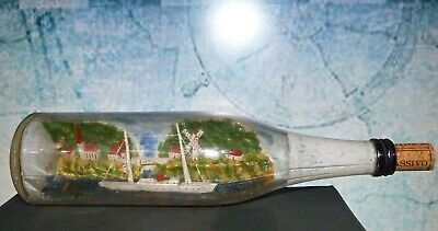 Vintage Dutch Ship in Bottle with Diarama Background Scene - unusual