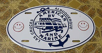 23 - LOS CRUCES ALBUQUERQUE AMERICAN RV & MARINE LICENSE PLATE, UNUSED!