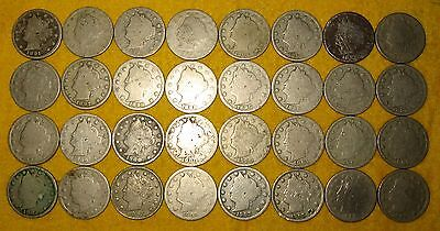[32] LIBERTY 'V' NICKELS DATED 1891 1903 LOT