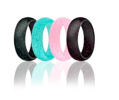 4 X Silicone Wedding Ring Women Rubber Engagement Band Outdoor Sport Flexible Us