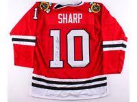 Signed Patric Sharp Blackhawk jersey- size XL, ice hockey