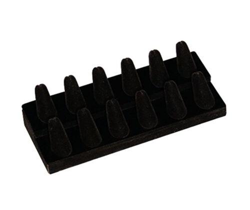 12 Finger Black Velvet Ring Showcase Counter Top Display