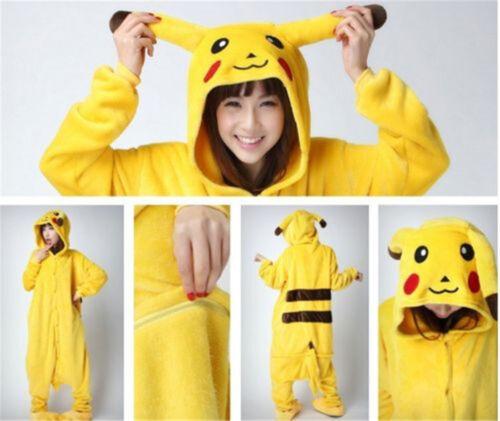 Pokemon Pikachu Pajamas Unisex Adult Kids Costume Animal Flannel Jumpsuit