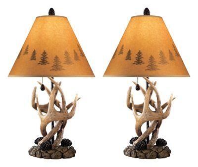 Antler Table Lamp Deer Cabin Lodge Wildlife Silhouette Pine Cone Rustic Set of (Antler Table Lamp)