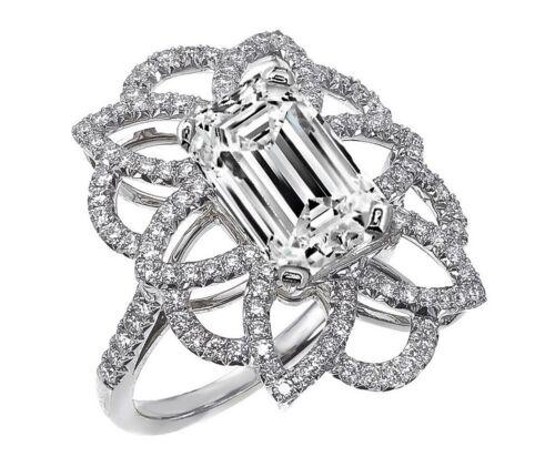 2.50 Carat GIA Certified Diamond Engagement Ring 18k White Gold Emerald Cut