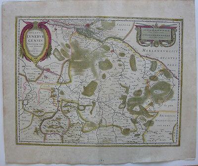 Lüneburg Herzogtum altkolor Kupferstichkarte Janssonius 1640 Niedersachsen