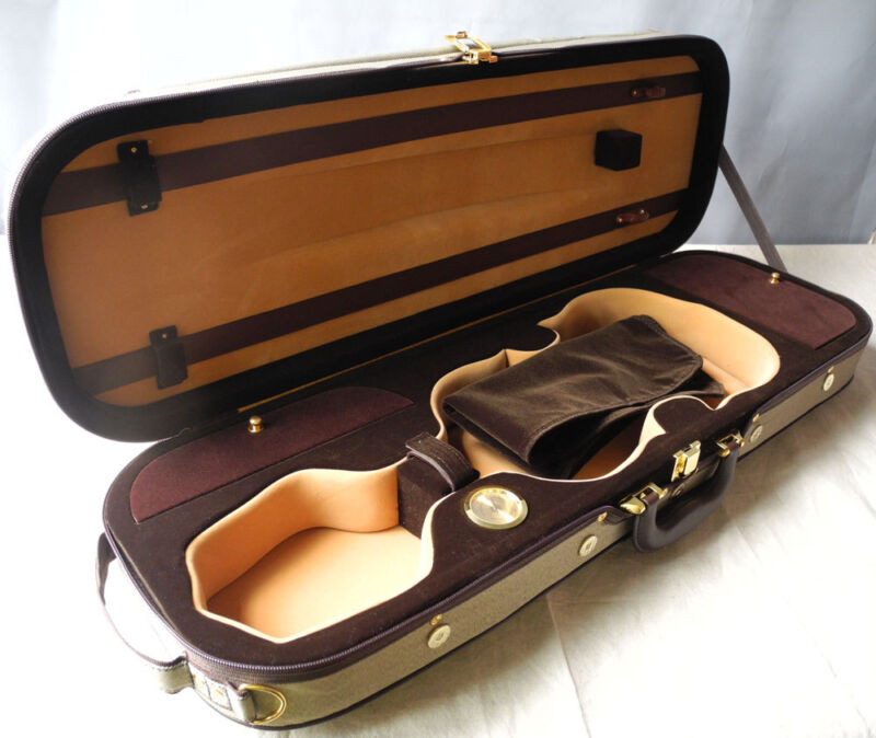 High grade rectangle oblong violin case 4/4, with Hygrometer strong