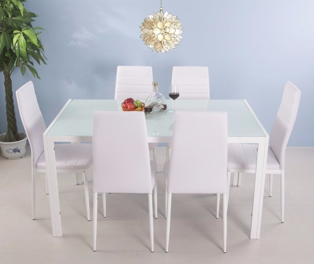 SALE! 7 Pieces Dining Table and 6 Chairs Set Modern Home Kitchen Furniture White Dinning Room Sets