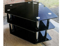 Black glass corner TV stand with chrome legs