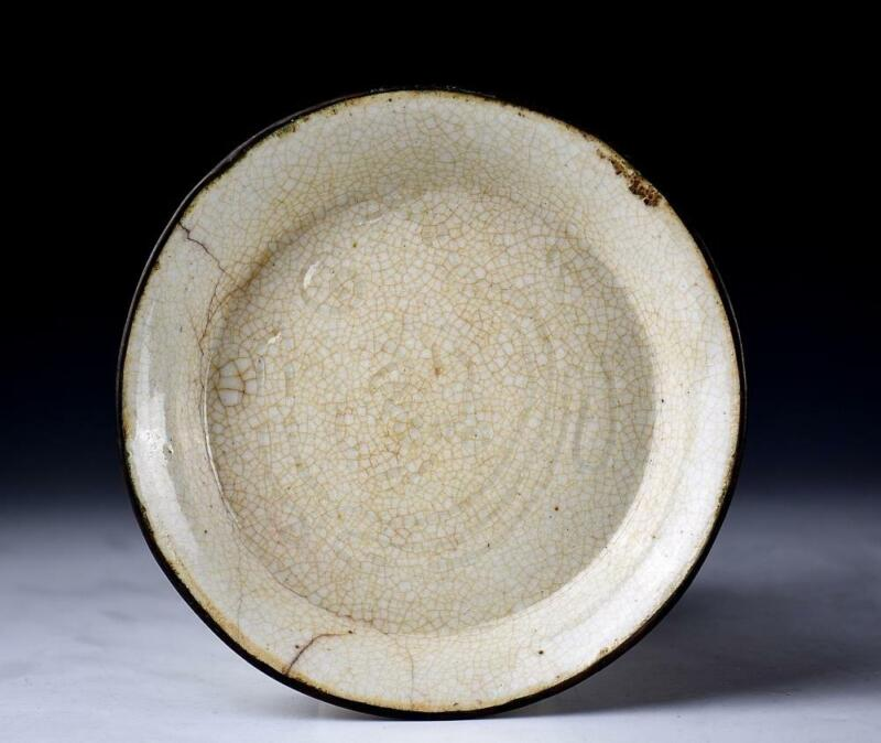 Chinese Song Dynasty Ge Kiln Plate / W 14.7[cm] Qing Ming Bowl Pot Vase