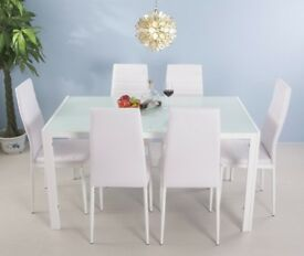 SALE! Faux Leather High Back Dining Chairs Set of 6(White 6 Chairs)