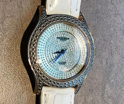 Women's Akribos XXIV AK464YG Brillianaire Diamond White Leather Strap Watch BinF
