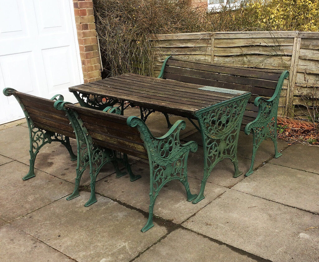 cast iron and wood table chair and bench patio garden set in glenfield leicestershire gumtree. Black Bedroom Furniture Sets. Home Design Ideas