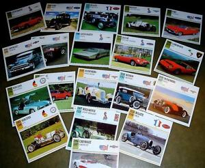 62 Collector's CARDS CLASSIC MOTORCYCLES CARS AVIATION AIRPLANES