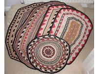 Antique HAND-WOVEN mats made from various synthetic fibres, from 1940-1950s