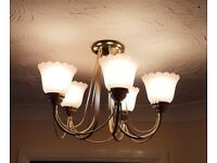 5 Bulb Ceiling Light in a gold finish - Pair (2 off)