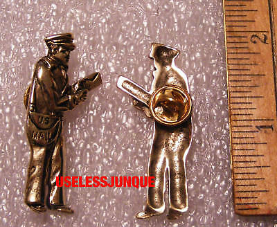 US POSTMAN MAIL CARRIER HAT PIN GOLD PLATED FREE SHIPPING IN USA