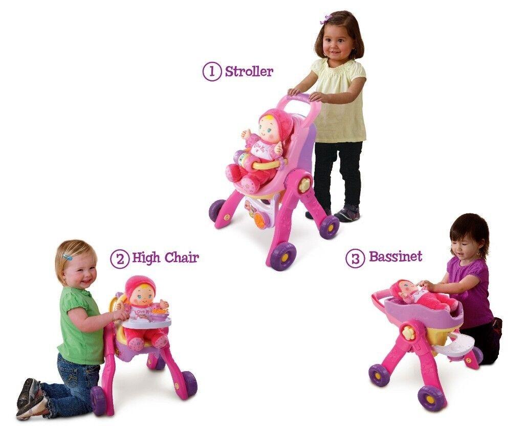 * V Tech 3 in 1 Baby Walker / Dolls pram and doll *