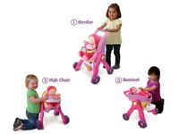 * V Tech 3 in 1 Baby Walker / Dolls pram and doll *