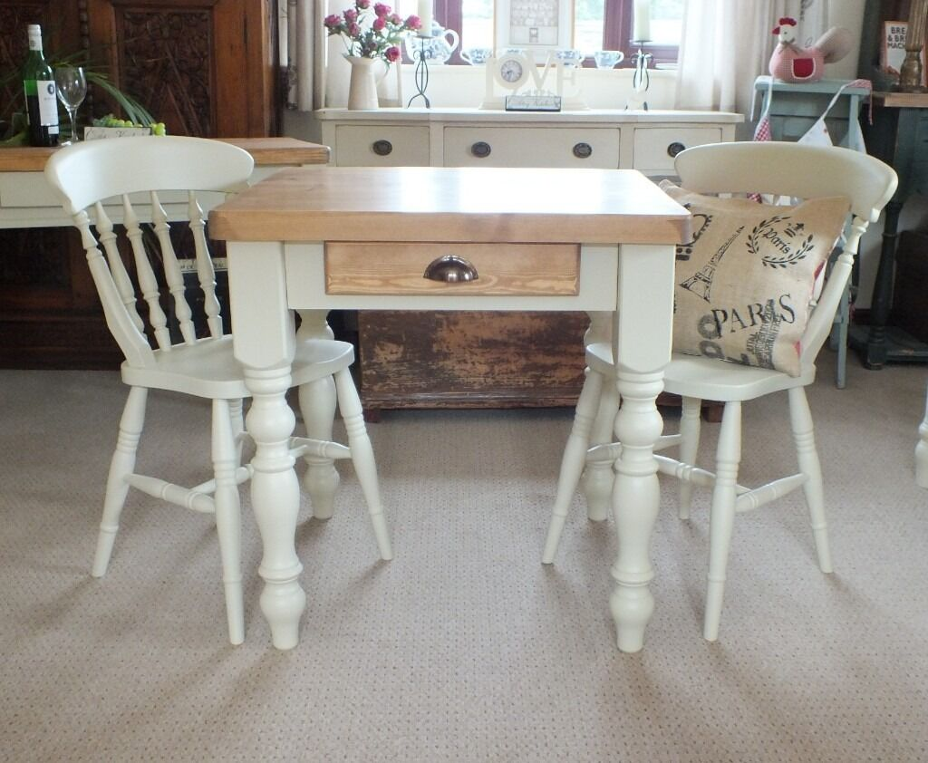 Pine farmhouse shabby chic country rustic style kitchen for Rustic shabby chic dining table