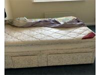 King Size Divan Bed and Orthopaedic Mattress (£100) with New Black Head Board (£50)