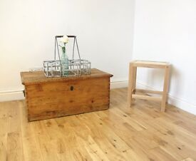 Vintage Pine Storage Chest / Coffee Table / Blanket Box
