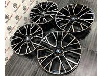 "NEW 22"" BMW X6M STYLE ALLOY WHEELS - 5 x 120 or 5 x 112 - BLACK/DIAMOND CUT"
