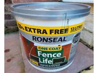 "12 LITRES RONSEAL FENCE PAINT.""FOREST GREEN"""