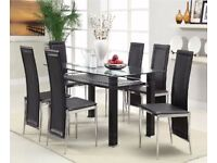Glass Rectangle Dining Table Set And 6 Chairs Faux Leather Modern Chrome Legs