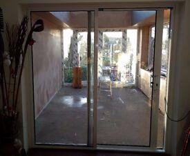 White Aluminium Patio Doors with Hardwood Subframe