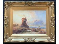Beautiful Original 19th Century Framed Windmill Landscape Watercolour Painting