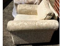 Superb three seater settee & armchair cream fabric material.