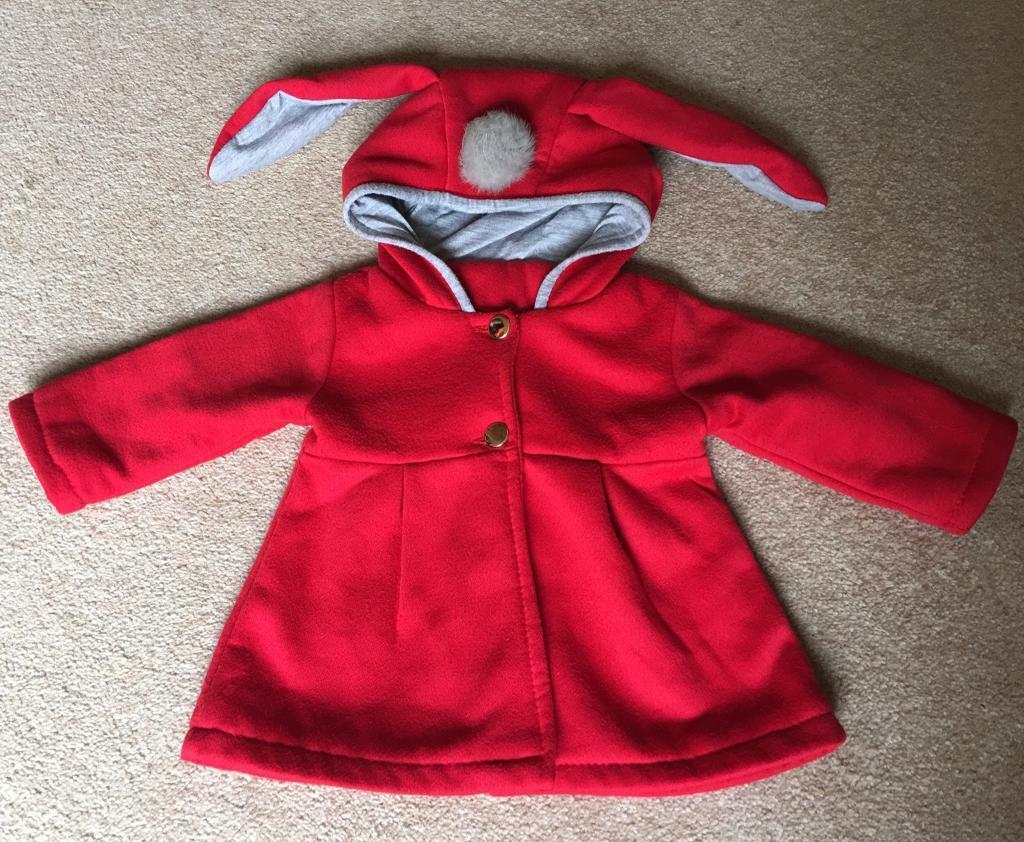 a5d9148f6 Cute Baby Girls Red Coat with Bunny Hood
