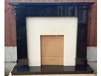 "54"" Black Granite Surround and Hearth c/w Marble Back Panel"