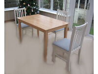 BEECH TABLE & 3 REFURBISHED CHAIRS (CAN DELIVER LOCALLY FOR FUEL COST)