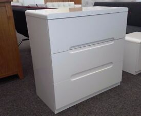 Ex-Display Manhattan White High Gloss 3 Drawer Chest **CAN DELIVER**