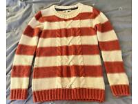 Fat Face striped cable knit jumper size 10