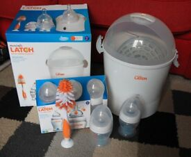 Munchkin Latch Anti Colic, Bottles, Electric Steriliser, Teats- Stages 1 & 2 VGC