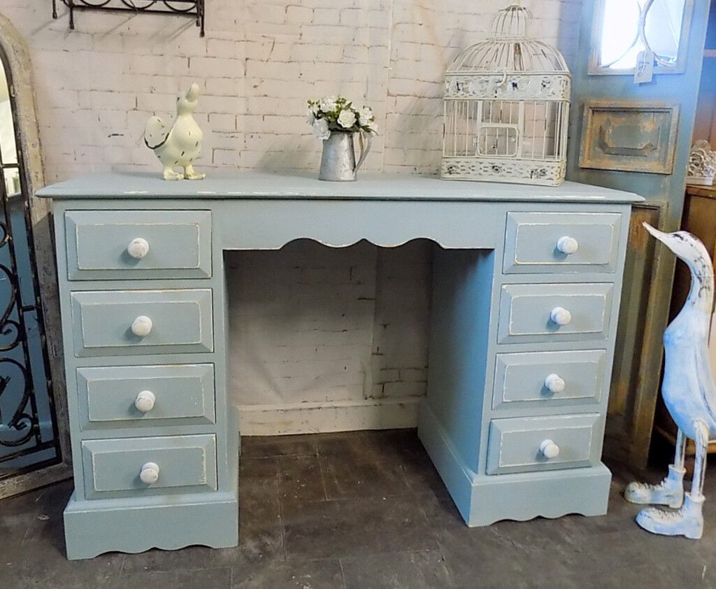 Painted Duck Egg Solid Pine Twin Pedestal Dressing Table