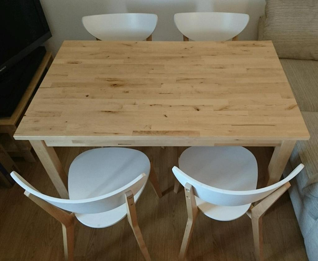 Ikea dining room table solid birch bjorkudden 4 for Table 4 personnes ikea