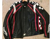 """Triumph Leather Motorcycle Jacket - 44"""" Chest - As New"""