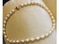 Baroque Freshwater Pearl Necklace With 14k Gold Ball Clasp