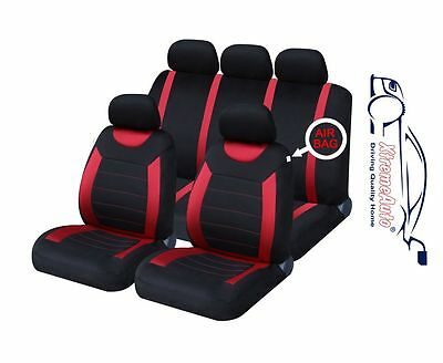 9 PCE Sports Carnaby Red/Black Full Set of CAR Seat Covers Vauxhall Astra Corsa