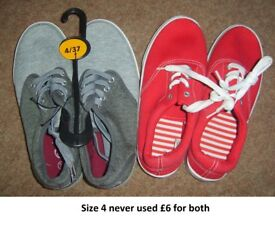 canvas shoes size 4 never used £5 for both pairs collection from didcot